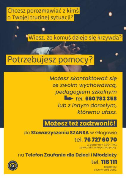 Plakat z informacjami dotyczącymi telefonu zaufania