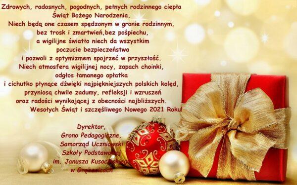 Grafika przedstawiająca świąteczne życzenia