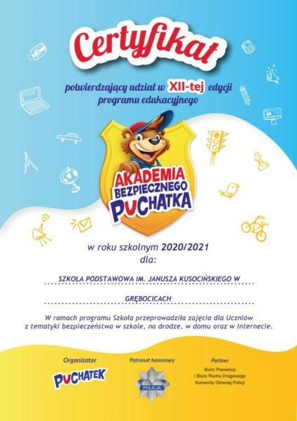Certyfikat za udział w programie Akademia Bezpiecznego Puchatka