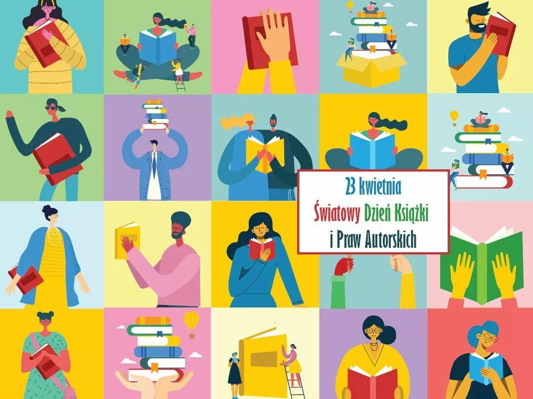 Grafika upamiętniająca Światowy Dzień Książki i Praw Autorskich