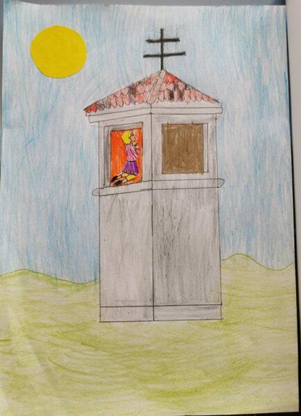 Praca ucznia prezentująca kapliczkę