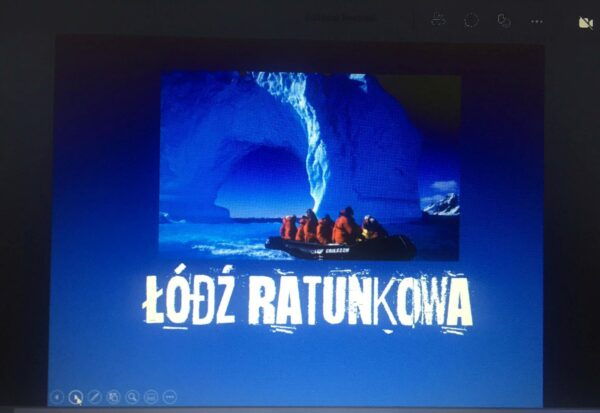 """Zrzut ekranowy wykonany podczas warsztatów profilaktycznych Łódź ratunkowa"""""""