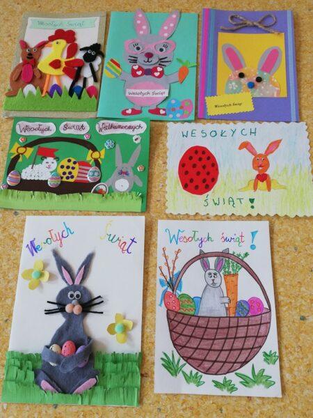 Kartki wielkanocne wykonane przez uczniów w ramach konkursu