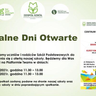 Plakat promujący dni otwarte w Zespole Szkół Centrum Kształcenia Rolniczego w Rudnej