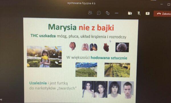 Zrzut ekranowy wykonany podczas zajęć profilaktycznych