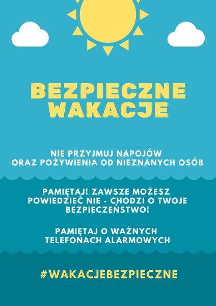 Plakat prezentujący zasady bezpieczeństwa podczas wakacji