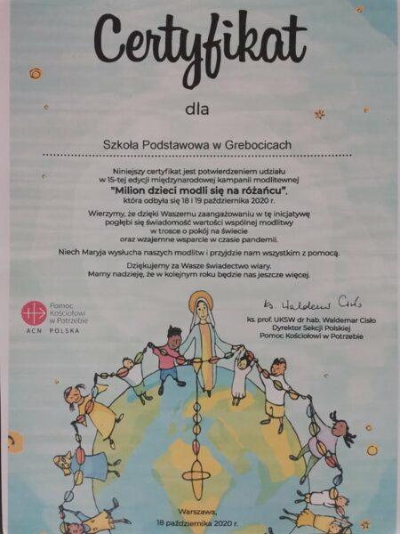 Certyfikat Milion dzieci modli się na różańcu