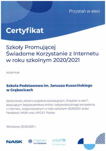 Certyfikat dla szkoły za udział w akcji Przystań w sieci