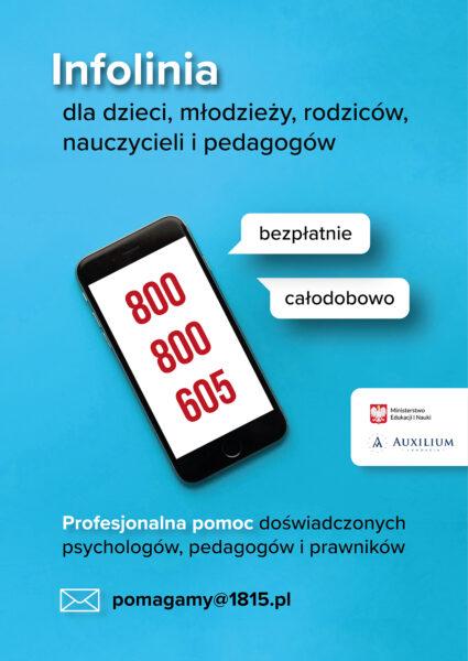 plakat informujący o bezpłatnej infolinii